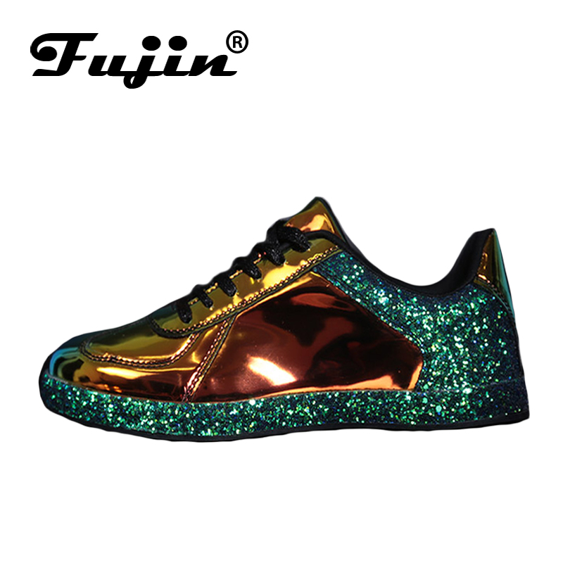 Fujin Oxford Shoes Sneakers Ballet Flats Glitter Shinny Bling Woman Fashion Casual Gold