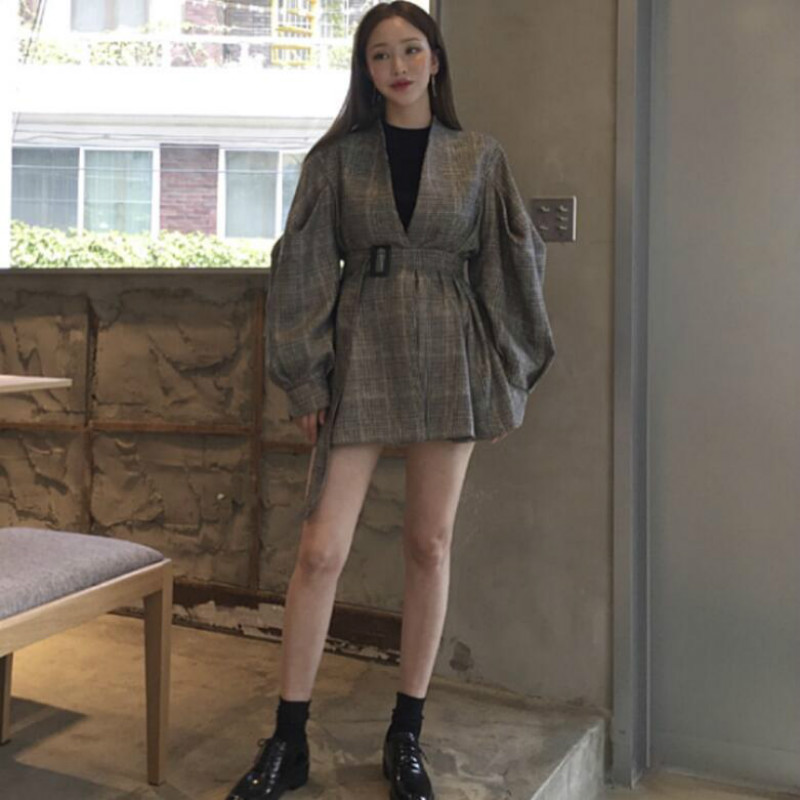 Impartial 2019 Korean Autumn And Winter New Vintage Pop-up Sleeve V-neck Waist Check Suit Jacket Female Parka Reputation First
