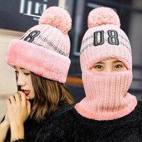 Xiangzhou Winter Breien Warme Gezicht Cap Bescherming Oor Hoed voor vrouwen Winddicht Kraag Drie Sets Kleuren Rood Roze Navy Grijs zwart