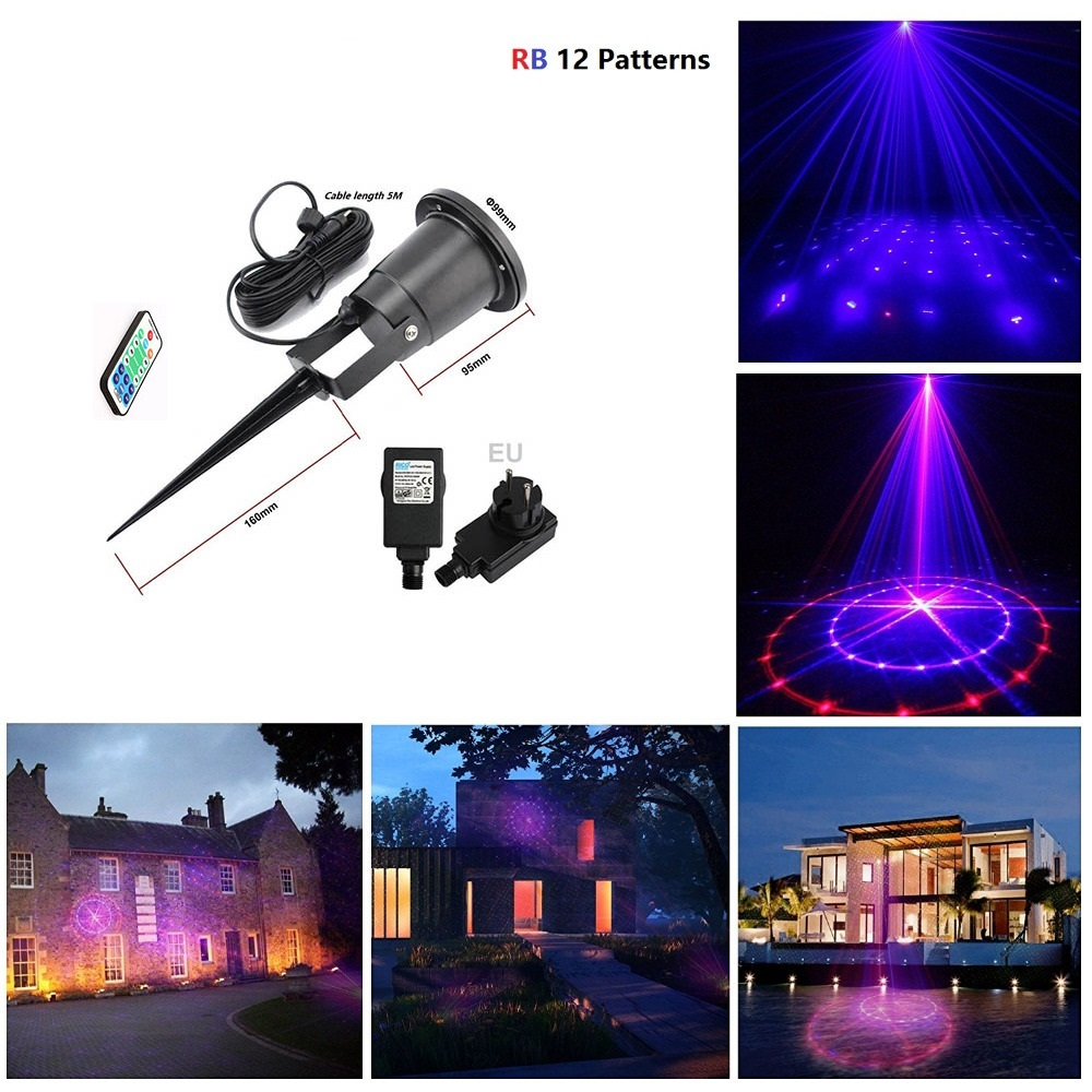 12 patterns red blue outdoor waterproof rb laser christmas star projector light wireless remote for Remote control exterior lights