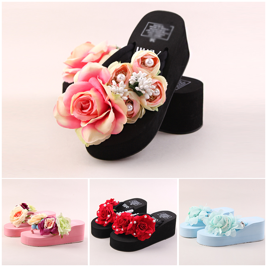 Pink Chiffon Flower High Heeled Adults Slippers White Pearl Paltform