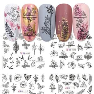 Image 2 - 12 Type Black Flower Decals Nail Art Water Transfer Sticker DIY Floral Slider Wraps Nail Paper Decor Manicure CHBN1189 1200 1