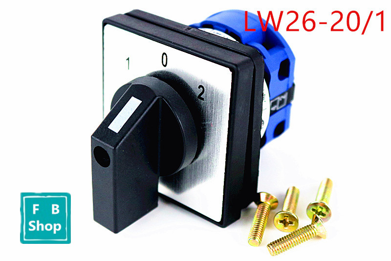 Free shipping 1pcs LW26-20/1 AC 500V 20A Universal Rotary Selector On-Off-On 3 Positions Cam Changeover Switch selector switch 0 3 positions ego 4334232000