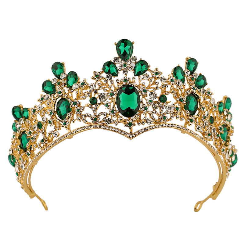 Hot Sale Baroque Green Tiaras Crowns Crystal Gold Color Chic Sparkly Rhinestones Crown Wedding Hair Jewelry LB
