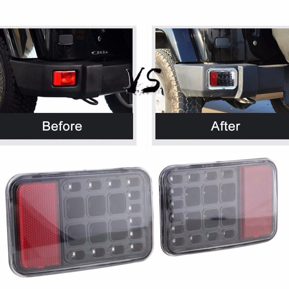 Pair Led Rear Bumper Fog Parking Reverse Brake Lights Lamp For Jeep Wrangler JK 2007 2016
