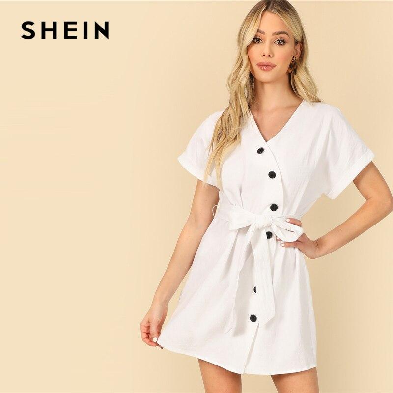 Шеин белый Асимметричный пуговицы планка Цельнокройное платье с поясом короткий рукав лето для женщин обёрточная бумага V образным вырезо