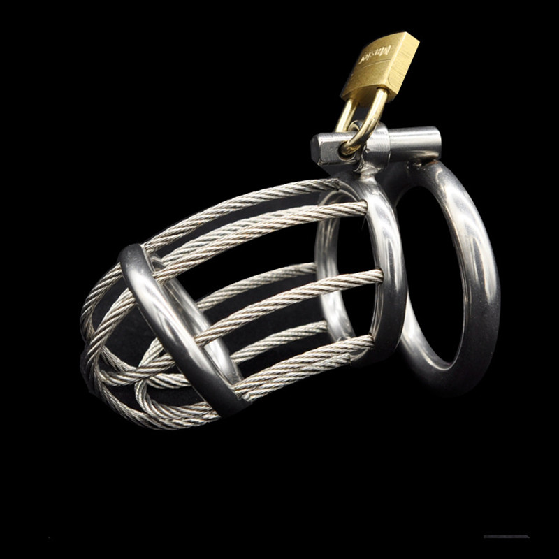 Buy Stainless Steel Cock Rings Male Penis Cage Ring Bondage Slave Metal Chastity Devices Belt Sex Toys Adult Products Men - A165