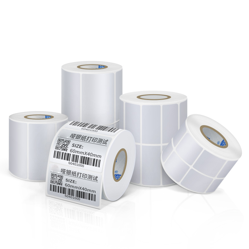 Pet Label Sticker  Paper Self-adhesive Label Pet Paper Thermal Transfer Silver PET Label  Barcode Printer Waterproof Tearproof O