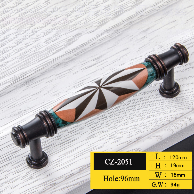 Керамические дверные ручки европейские ручки для антикварной мебели ручки и ручки для кухонного шкафа - Цвет: CZ-2051-96