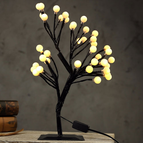 LED Cherry Blossom Tree Branches Night Lights Table Lamps Desk Luminarias Home Bedroom Party Wedding Indoor Decoration Lighting