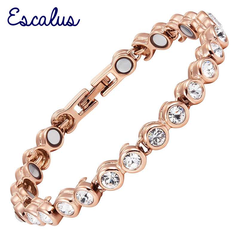 Ladies 26pcs Crystals Magnetic 18K Gold Ionic Plating Bracelet 2015 Gift Bangle Free Shipping Women 18