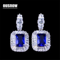 OUSNOW Zircon Aristocratic Blue Square Crystal Jewelry Luxury Cubic Zircon Earrings for Women's Party Gifts