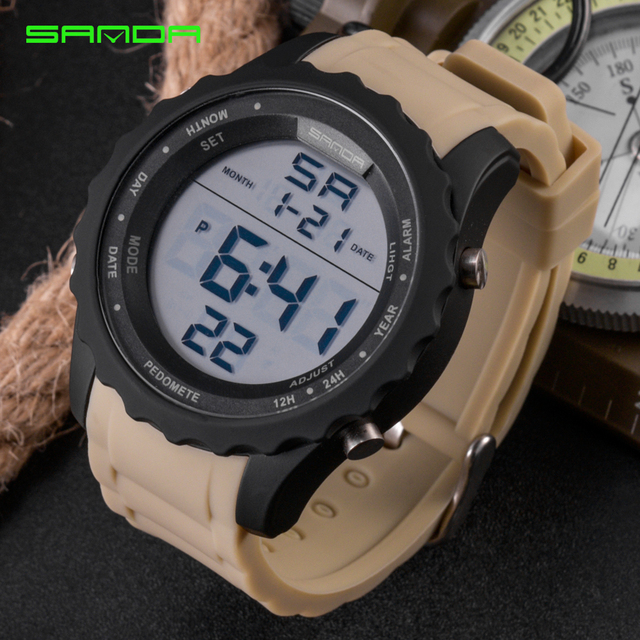 2264cc69fbd 2018 New SANDA Man Rubber Tactical Military Sport Wrist Watch Mens Watches  Top Brand Luxury LED Digital Date Quartz Watch 369