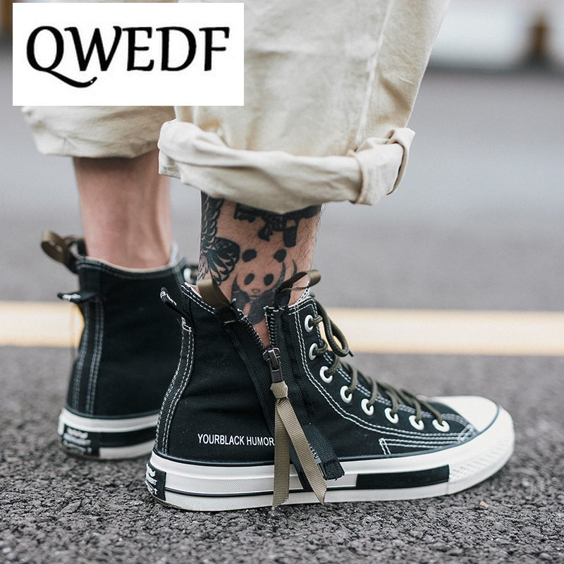 QWEDF New 2019 Spring Autumn Fashion High Top Sneakers Canvas Shoes Men Casual Shoes Flat Male Lace Up Solid Trainers GA 34