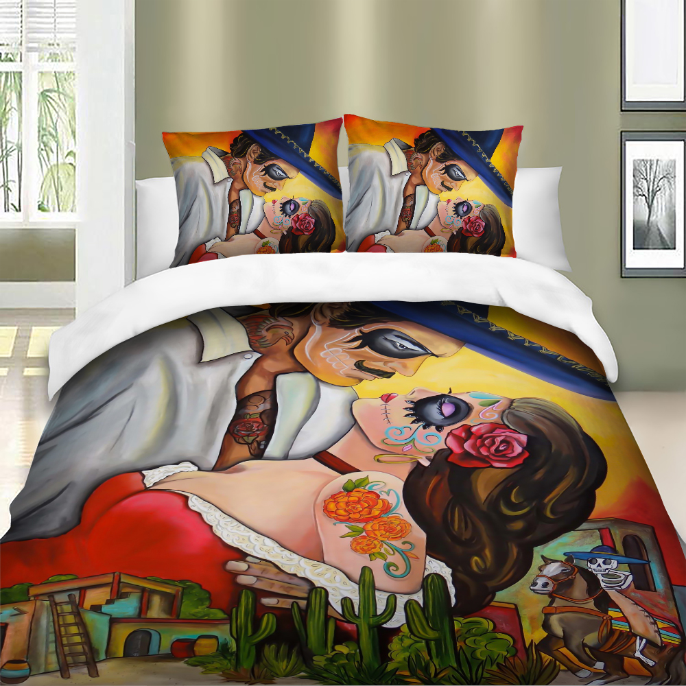 Sexy skull beauty Bedding Set Wedding Duvet Cover Bedclothes Twin queen king size 3pcs Home Textiles in Bedding Sets from Home Garden