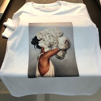 100% Algodão estética T-shirt Sexy Flower Printing Harajuku Tops de mangas curtas e camisetas Moda Casual Tamanho grande das mulheres Tshirt 1