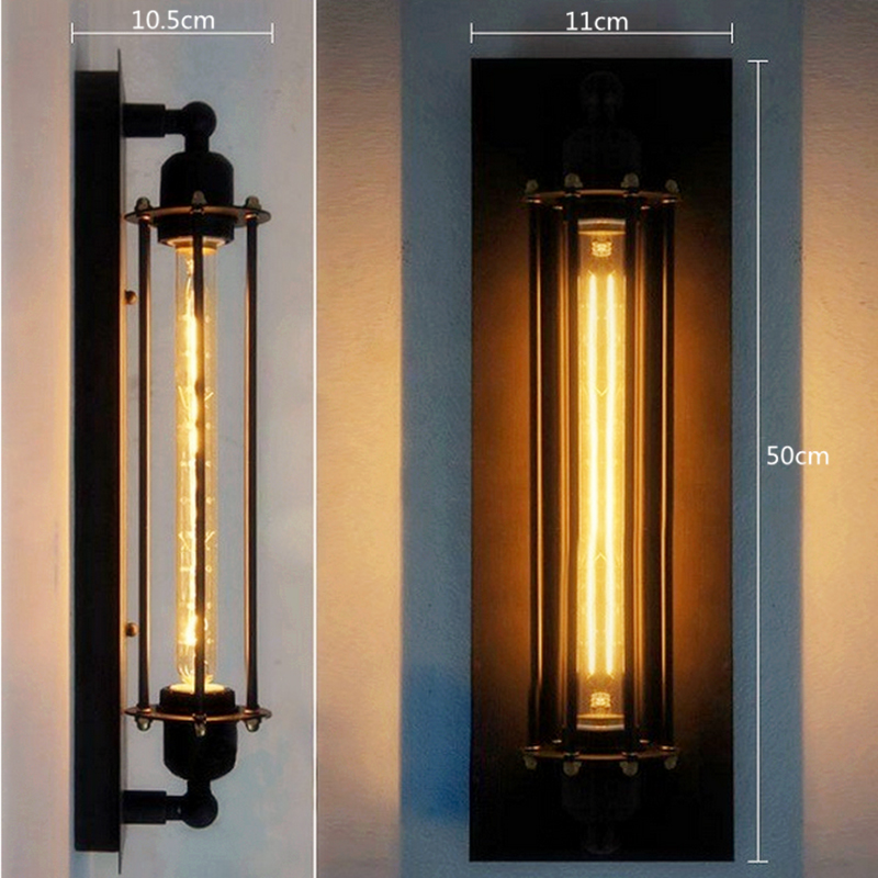 T300 Industrial Rustic Long Black Wall <font><b>Sconce</b></font> Plate Lamp Retro Vintage Lighting for indoor use