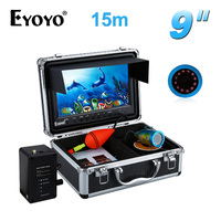 EYOYO 15M Cable Underwater Video Fishing Camera IR LED Fish Finder 9 HD 1000TVL Large LCD