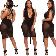 Kakan summer new sexy mesh strap dress black white burgundy with irregular open back openwork