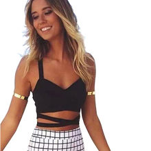 30eb26ff170a6 Women V-Neck Cut Out Bra Crop Bustier Cami Top Blouse Camisole Spring Summer  Black Crop Top A20