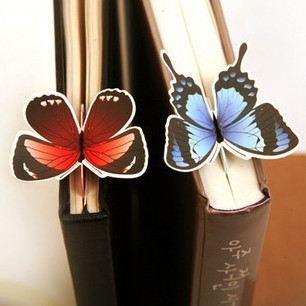 10 Pcs/lot Cute Lovely Paper Painted Bookmark Vintage Bookzzi 3D Butterfly Bookmarks Stationery Wholessale Free Shipping