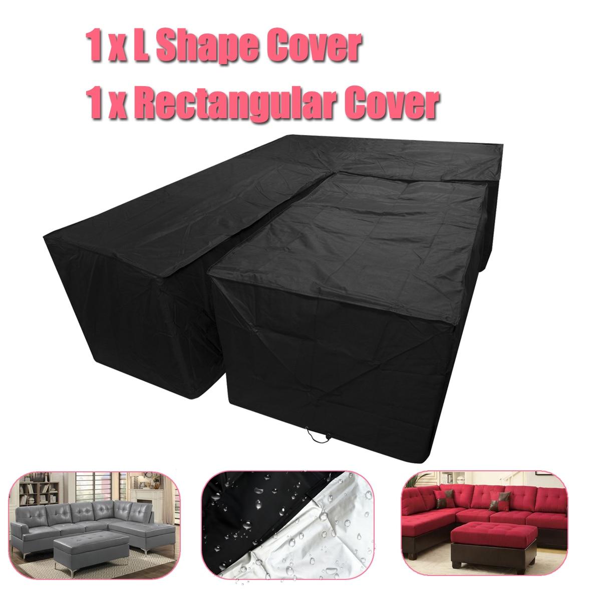 Tissu imperméable de couverture de pluie de meubles extérieurs de jardin place le tissu de couverture de protection antipoussière de Polyester pour des costumes de Sofa pour le noir à la maison