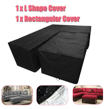 Waterproof Garden Outdoor Furniture Rain Cover Cloth Sets Polyester Dustproof Protect Cover Fabric for Sofa Suits for Home Black