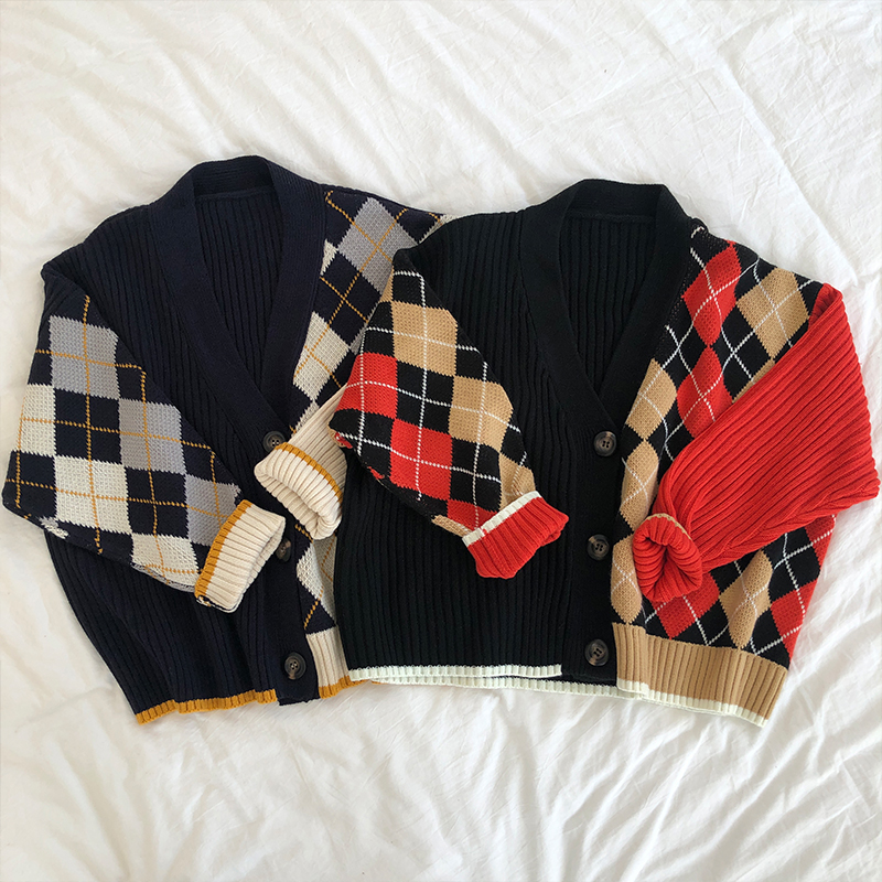 3 Colors 2019 Spring And Autumn V Neck Color Patchwork Plaid Sweater Womens Knitted Cardigans Womens (X180)