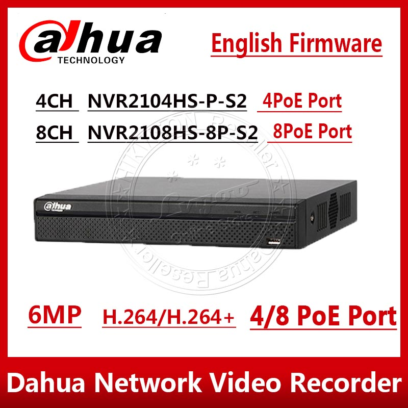 Dahua Original 4ch 8ch POE NVR NVR2104HS-P-S2 NVR2108HS-8P-S2 Compact 1U 4PoE 8PoE Lite Network Video Recorder With Logo