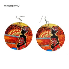 60cm Africa Wood Black Native Girl African Queen Earrings Bollywood Vintage Bohemia Party Tribal Jewelry Wooden DIY Accessories