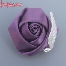 5db / lot menyasszonyi női ruhák Vőlegény a házasság Wedding Ribbon Rose Corsages sok színes csepp szállítási XH0059