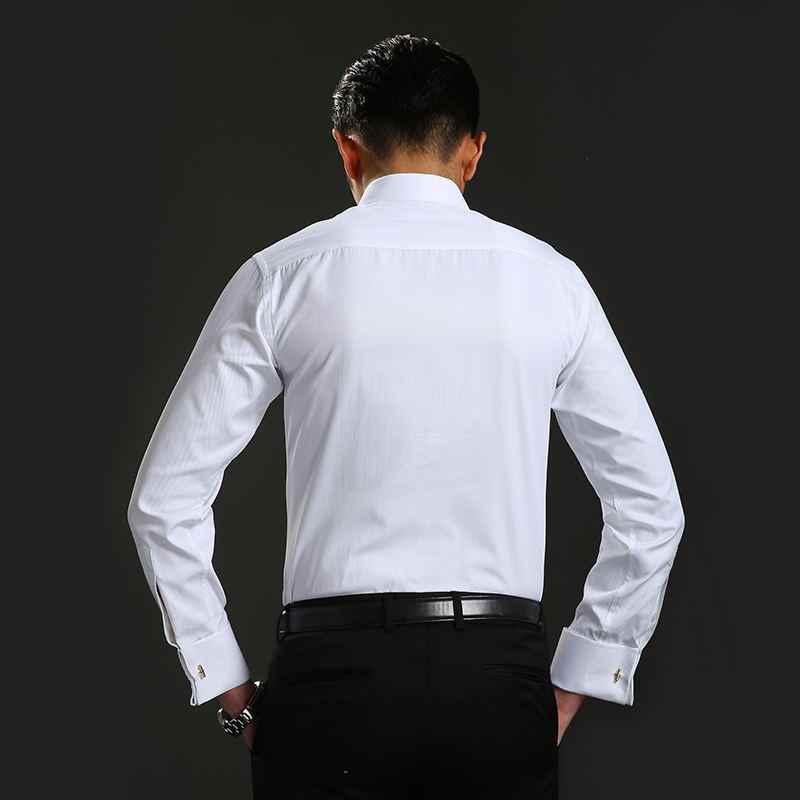Camisas de vestir para hombre mancuernas francesas azul blanco de manga larga de negocios Casual Camisa ajustada de Color sólido gemelos franceses a rayas camisa