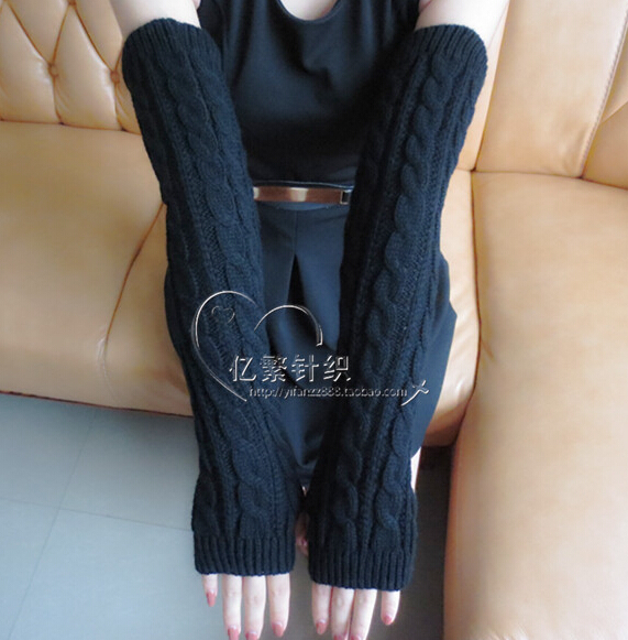 Women's Fashion Yarn Knitted Gloves Lady's Sexy Fingerless Thicken Warm Gloves Female Winter Thermal Long Gloves 50cm