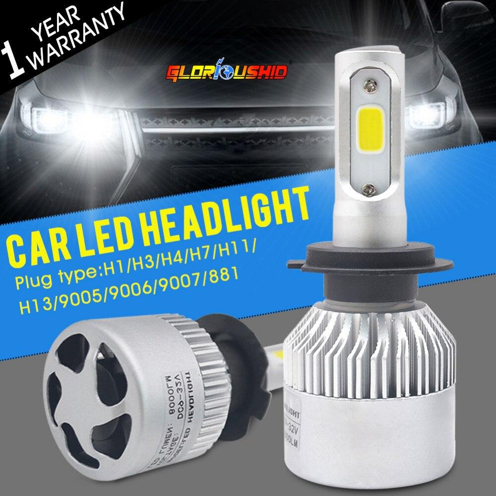 Auto Auto Licht H7 Led H4 H1 H3 H8 H11 H13 9005 9006 9007 881 Led-scheinwerfer 6500 Karat 72 Watt 8000LM Autos Teil Lampe