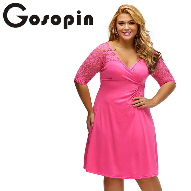US $24.53 |Gosopin Plus Size Elegant Half Sleeve Lace Dresses XXL Spring V  Neck Rosy Night Out Party Dresses Hollow Out 2018 Large LC61287-in Dresses  ...