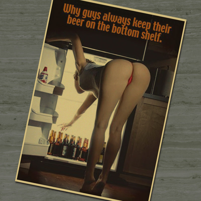 Bar wall decal Kraftpaper vintage retro poster Sexy girl take beer from the refrigerator Wall stickers home decor