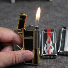 Flip צד טחינת גלגל מלטש נייד סילון גז מצית משלוח אש מנופח בוטאן שמן מצית מתכת גאדג טים לגברים לא גז