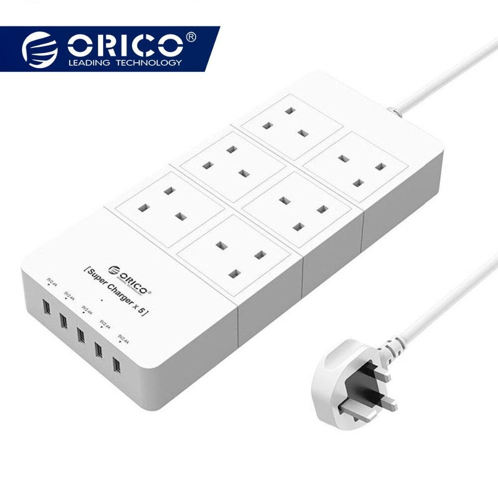 ORICO HPC-4A5U-UK-WH Home office UK Plug USB adaptateur de chargeur de voyage avec 6 barre d'alimentation parasurtenseur 5 Pieds Cordon D'alimentation