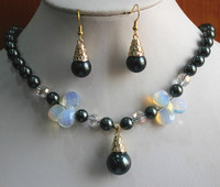 hot sell new 8mm black shell pearl dotted with moon stone necklace match 14mm pearl earrings jewelry set for party