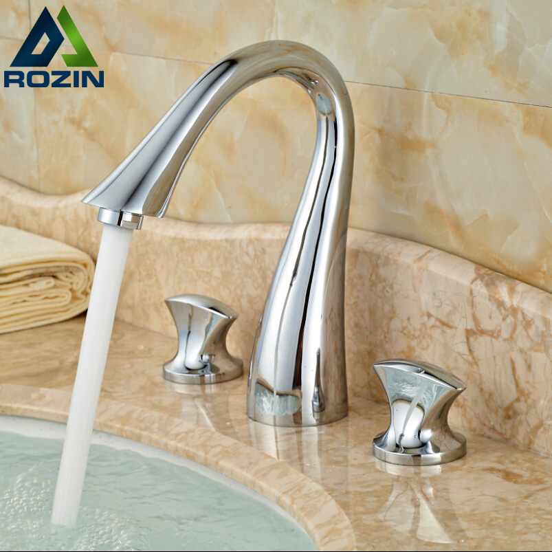 2016 New Widespread Basin Vessel Sink Faucet Deck Mount Dual Handle Brass Mixer Taps Chrome Finish