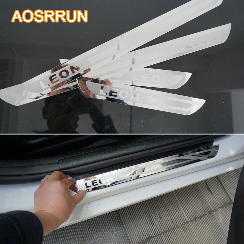 AOSRRUN Car Accessories Stainless Steel Door Scuff Plate Door Sill Car-Styling For SEAT LEON CUPRA 2011 2012 2013 2014 2015