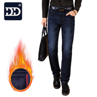 Dingdi Famous Brand 2016 NEW Arrival Men Jeans Straight Winter Jeans Most Warm Jeans Softener Fabric
