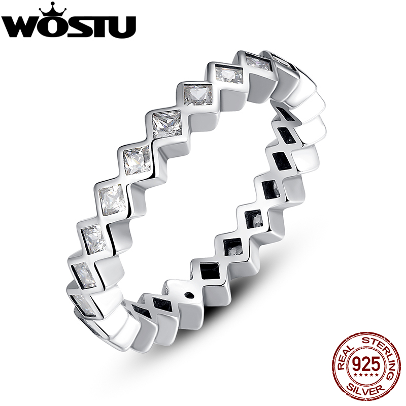 Authentic 925 Sterling Silver Alluring Princess Stackable Rings For Women Luxury Original Fine Jewelry Gift XCH7158