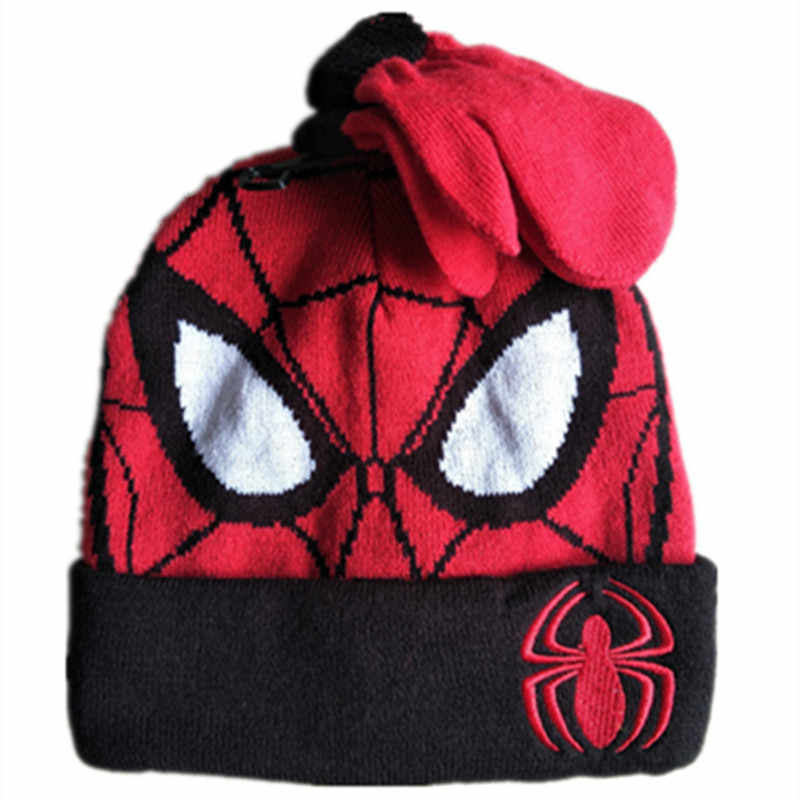 a3bc7267 Detail Feedback Questions about Cartoon Super Hero Spider man Hat Knitting  Cotton Beanies Cap Plush Winter Warm Cute Spider man Baby Kid boy Knit  Gloves Hat ...