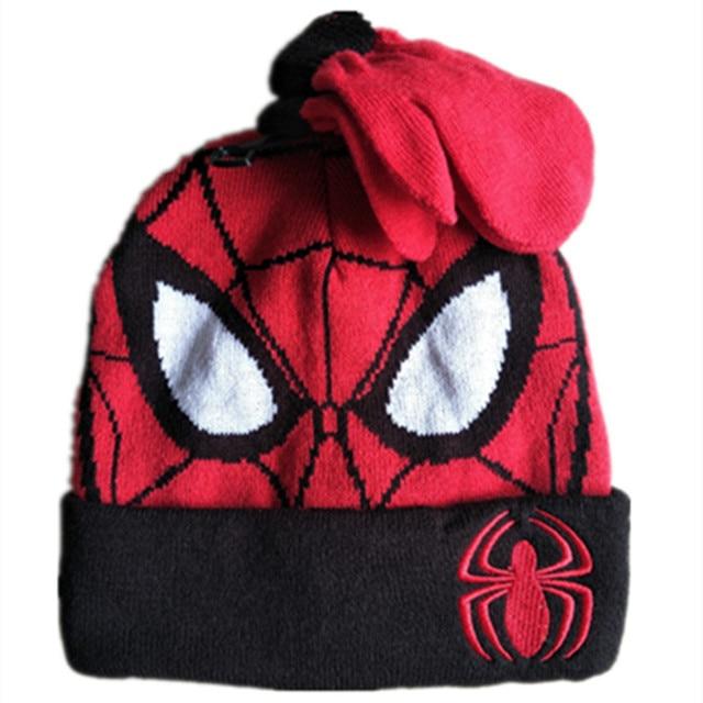 Cartoon Super Hero Spider man Hat Knitting Cotton Beanies Cap Plush Winter  Warm Cute Spider man Baby Kid boy Knit Gloves Hat Set 914803c42b1