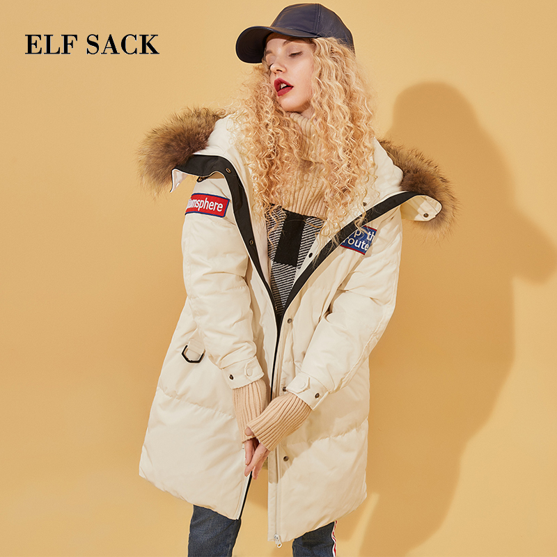 ELF SACK Winter New Woman   Down     Coat   Full Letter Casual Women Modern 90% White Duck   Down     Coat   Thick Chic Femme Outerwear   Coat