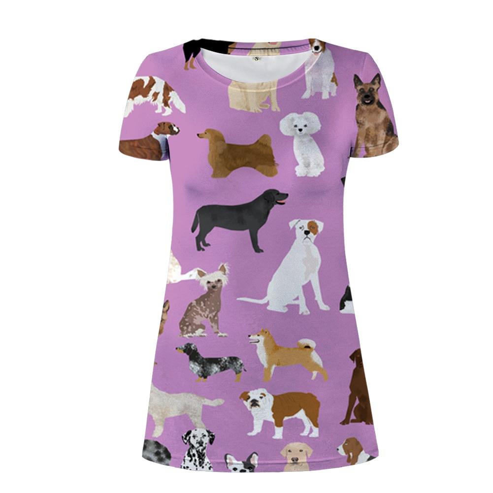 NoisyDesigns mignon chien violet femmes robe d'été 2018 à manches courtes col rond robes pour femme décontracté robes dame robe d'été