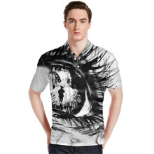 FORUDESIGNS Wholesale Eyes  Polo Shirt Mens Horse Tops Tees Male Funny Cute shirts Casual Party Shirts Loose Fit XXXL