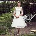 Дешевые Alibaba Китай Короткий Свадебное Платье Старинные Свадебные Платья Принцесса Длиной До Колен Кружева Свадебные Платья Платье de Noiva Курто