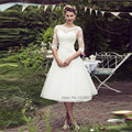 Alibaba barato de China Vestido de Novia Corto de La Vendimia Vestidos de Boda de la Princesa Hasta La Rodilla de Encaje Vestidos de Novia Vestido de Noiva Curto